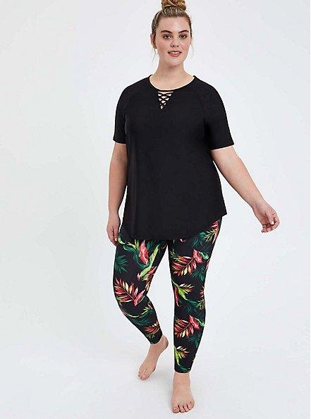 Lace-Up Front Swim Shirt - Black, DEEP BLACK, alternate