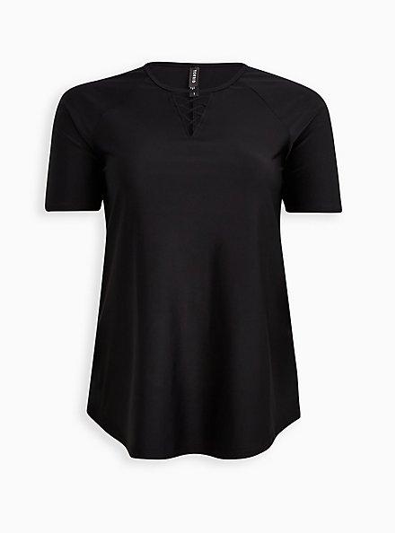 Lace-Up Front Swim Shirt - Black, DEEP BLACK, hi-res