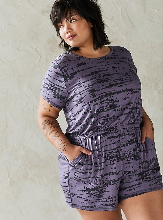 Purple Super Soft Washed Sleep Romper, , hi-res