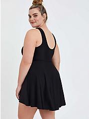 High Low Scoop Mid Length Swim Dress - Black , DEEP BLACK, alternate