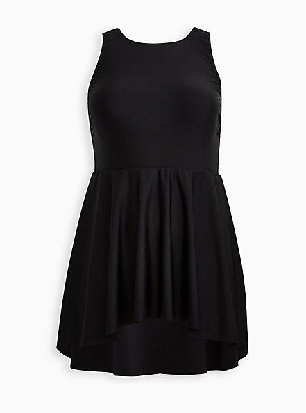 High Low Scoop Mid Length Swim Dress - Black , DEEP BLACK, hi-res