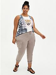 Relaxed Fit Cargo Crop Jogger - Stretch Challis Taupe Wash, BROWN, alternate