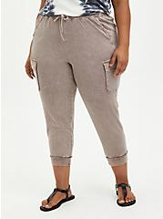Relaxed Fit Cargo Crop Jogger - Stretch Challis Taupe Wash, BROWN, hi-res