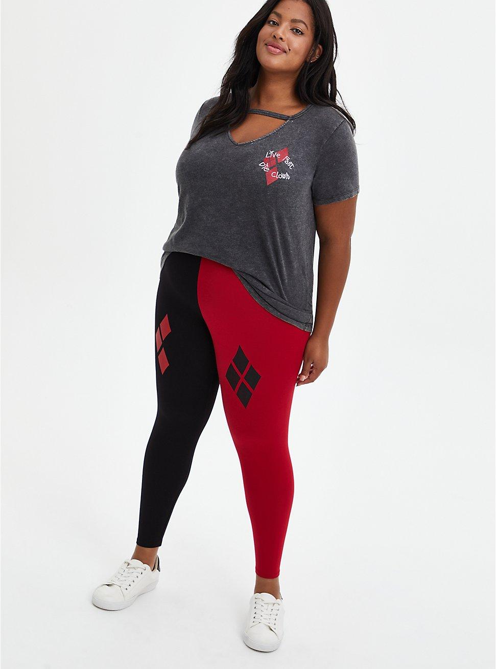 DC Comics Suicide Squad Red & Black Diamond Legging, BLACK  RED, hi-res