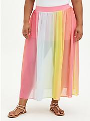 Multi Stripe High Waist Chiffon Maxi Skirt, STRIPE - MULTI, hi-res