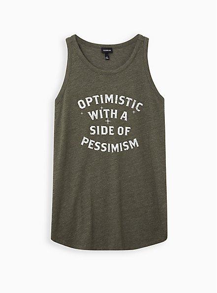 High Neck Tank - Triblend Jersey Optimistic Pessimistic Olive, DEEP DEPTHS, hi-res