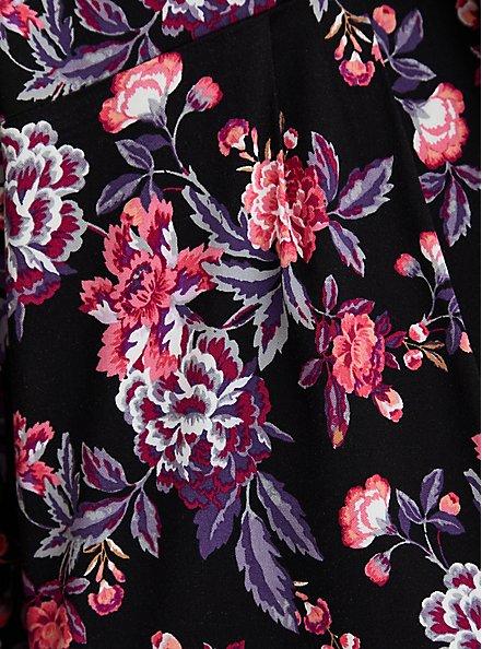 Black Floral Smocked Challis Short, MULTI FORAL, alternate