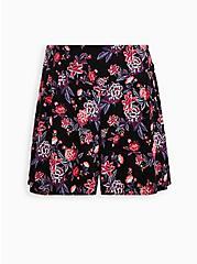 Smocked Short - Stretch Challis Floral Black, MULTI FORAL, hi-res