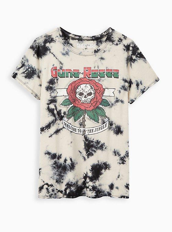 Guns N' Roses White & Black Wash Crew Tee, TIE DYE-BLACK, hi-res