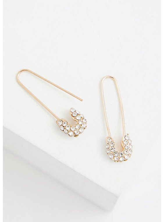 Gold-Tone Safety Pin Earrings, , hi-res