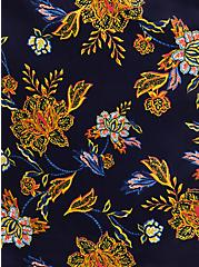 Blue Floral Satin & Lace Trim Self Tie Long Robe, MELINDA FLORAL, alternate