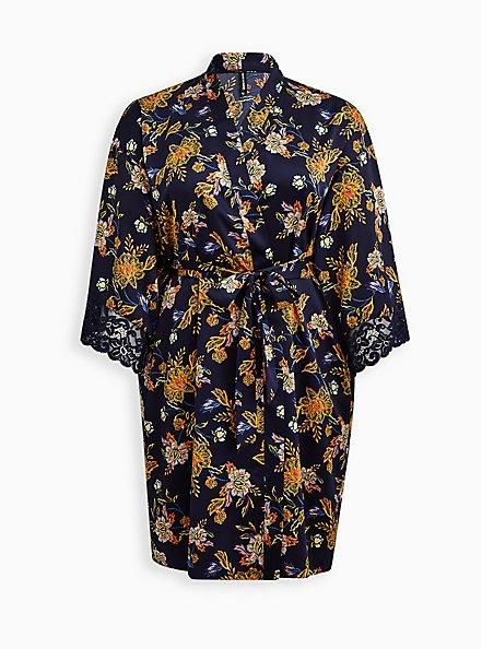 Blue Floral Satin & Lace Trim Self Tie Long Robe, MELINDA FLORAL, hi-res