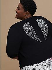 Retro Chic Button Front Crop Cardigan - Angel Wings Black, DEEP BLACK, hi-res