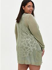 Open Front Cardigan Sweater - Pointelle Oatmeal, OATMEAL HEATHER, alternate