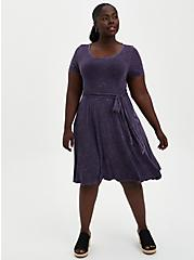 Super Soft Purple Wash Tie-Waist Skater Dress , TIE DYE, alternate