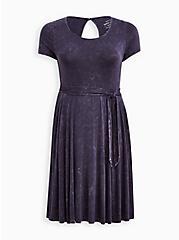 Super Soft Purple Wash Tie-Waist Skater Dress , TIE DYE, hi-res