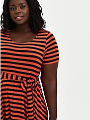 Plus Size Super Soft Rust & Black Stripe Tie-Waist Skater Dress, STRIPE - MULTI, alternate