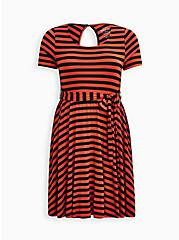 Plus Size Super Soft Rust & Black Stripe Tie-Waist Skater Dress, STRIPE - MULTI, hi-res