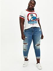 Plus Size Marvel Captain America Ringer Top, CLOUD DANCER, alternate