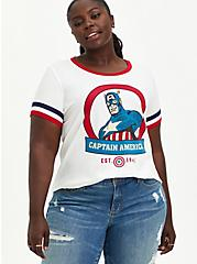 Plus Size Marvel Captain America Ringer Top, CLOUD DANCER, hi-res