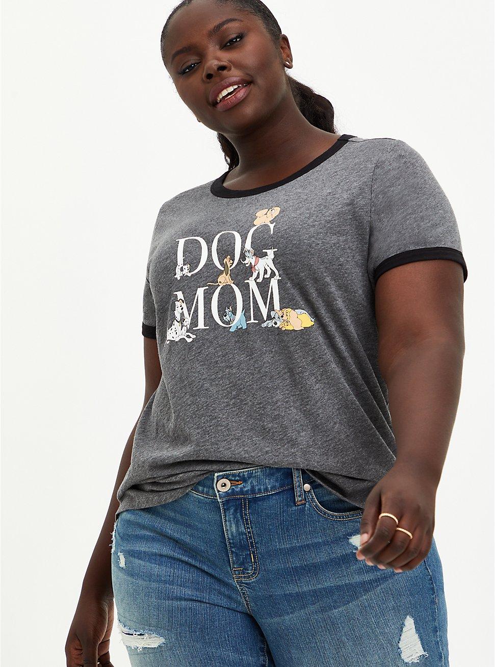Plus Size Disney Dog Mom Ringer Top, MEDIUM HEATHER GREY, hi-res