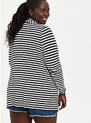 Open Front Cardigan - Super Soft Stripe Black & White, STRIPE - MULTICOLOR, alternate