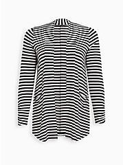 Open Front Cardigan - Super Soft Stripe Black & White, STRIPE - MULTICOLOR, hi-res