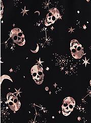 Zip-Front Shirt Dress - Stretch Challis Skulls Black, SKULL - BLACK, alternate
