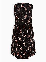 Zip-Front Shirt Dress - Stretch Challis Skulls Black, SKULL - BLACK, hi-res