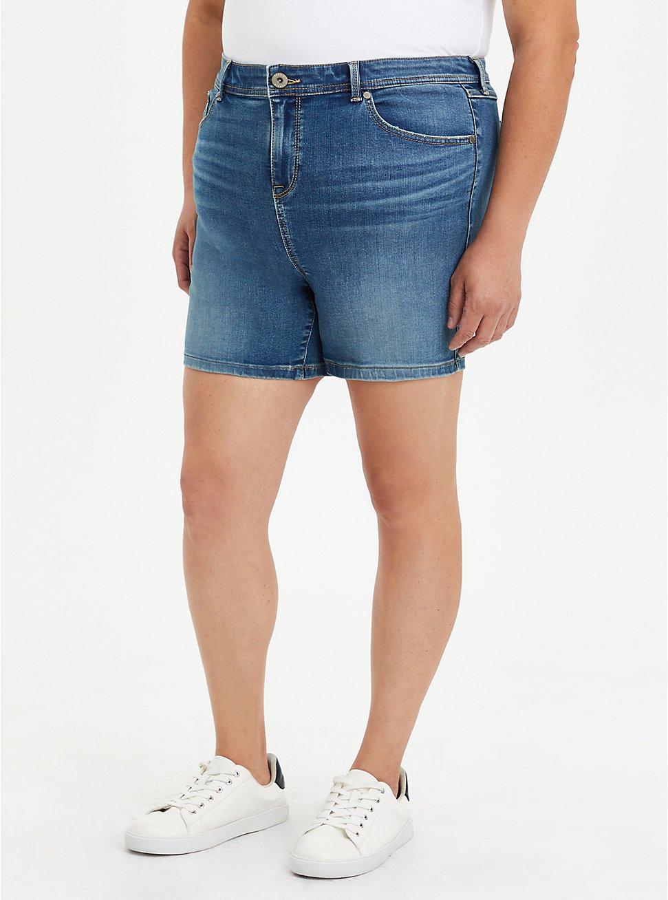 Plus Size Midfit Midi Short - Super Soft Eco Medium Wash, MARITIME, hi-res