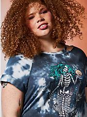 Plus Size Lovesick Deadly Mermaid – Multi Tie Dye Triblend Cold Shoulder T-Shirt Dress, TIE DYE, alternate