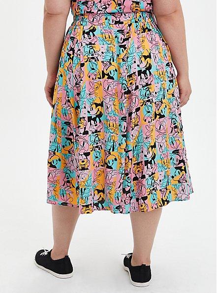 Disney Mickey & Friends Retro Button-Up Midi Skirt, MICKEY AND FRIENDS, alternate