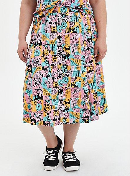 Disney Mickey & Friends Retro Button-Up Midi Skirt, MICKEY AND FRIENDS, hi-res