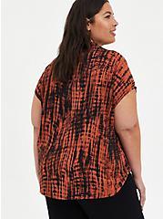 Plus Size Tie Front Dolman Blouse - Challis Tie-Dye Auburn, , alternate