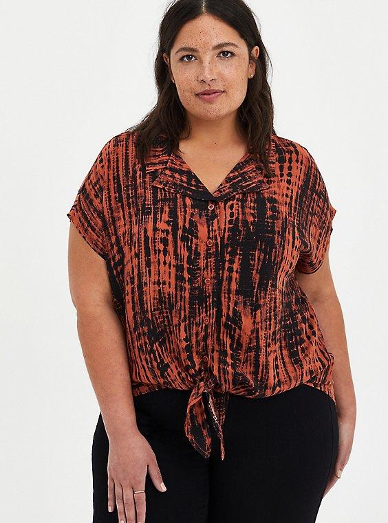 Plus Size Tie Front Dolman Blouse - Challis Tie-Dye Auburn, , hi-res