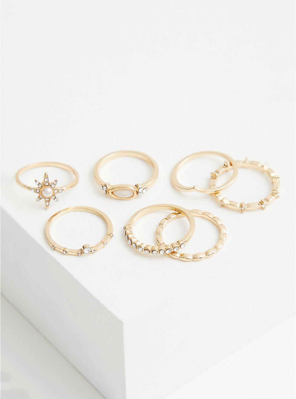 Gold-Tone Starburst Ring Set , GOLD, hi-res