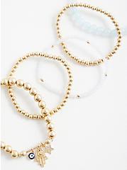 Gold Tone Beaded Hamsa Bracelet - Set of 5, GOLD, alternate