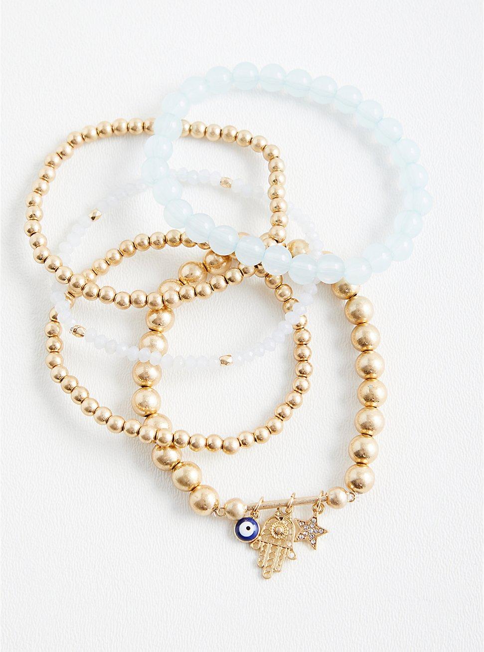 Gold Tone Beaded Hamsa Bracelet - Set of 5, GOLD, hi-res