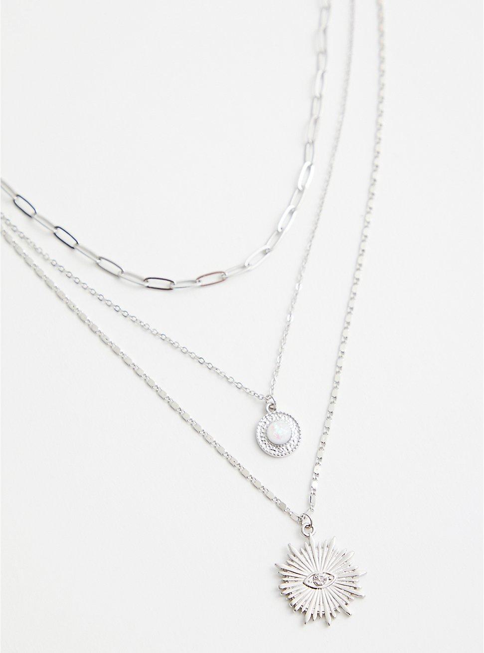Silver-Tone Sunburst 3-Layer Necklace, , hi-res