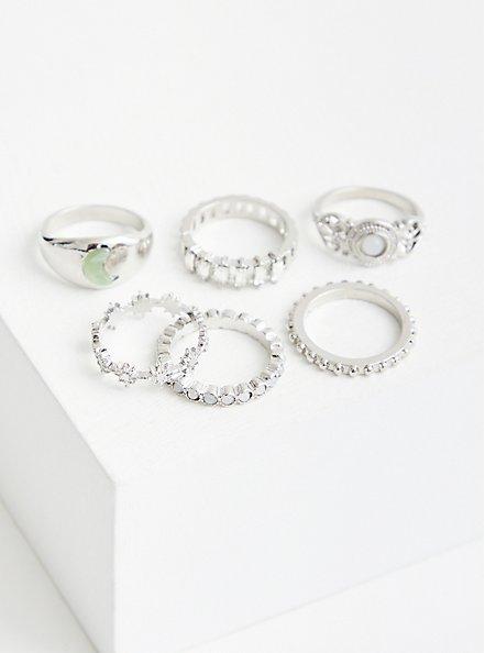 Plus Size Silver Tone Celestial Ring Set, SILVER, alternate