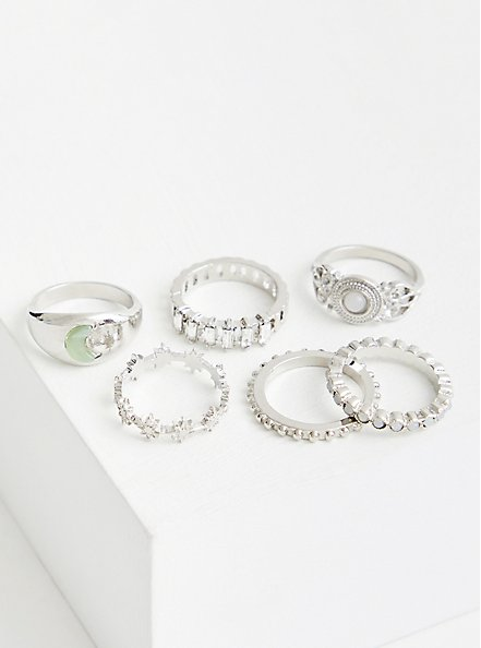 Plus Size Silver Tone Celestial Ring Set, SILVER, hi-res