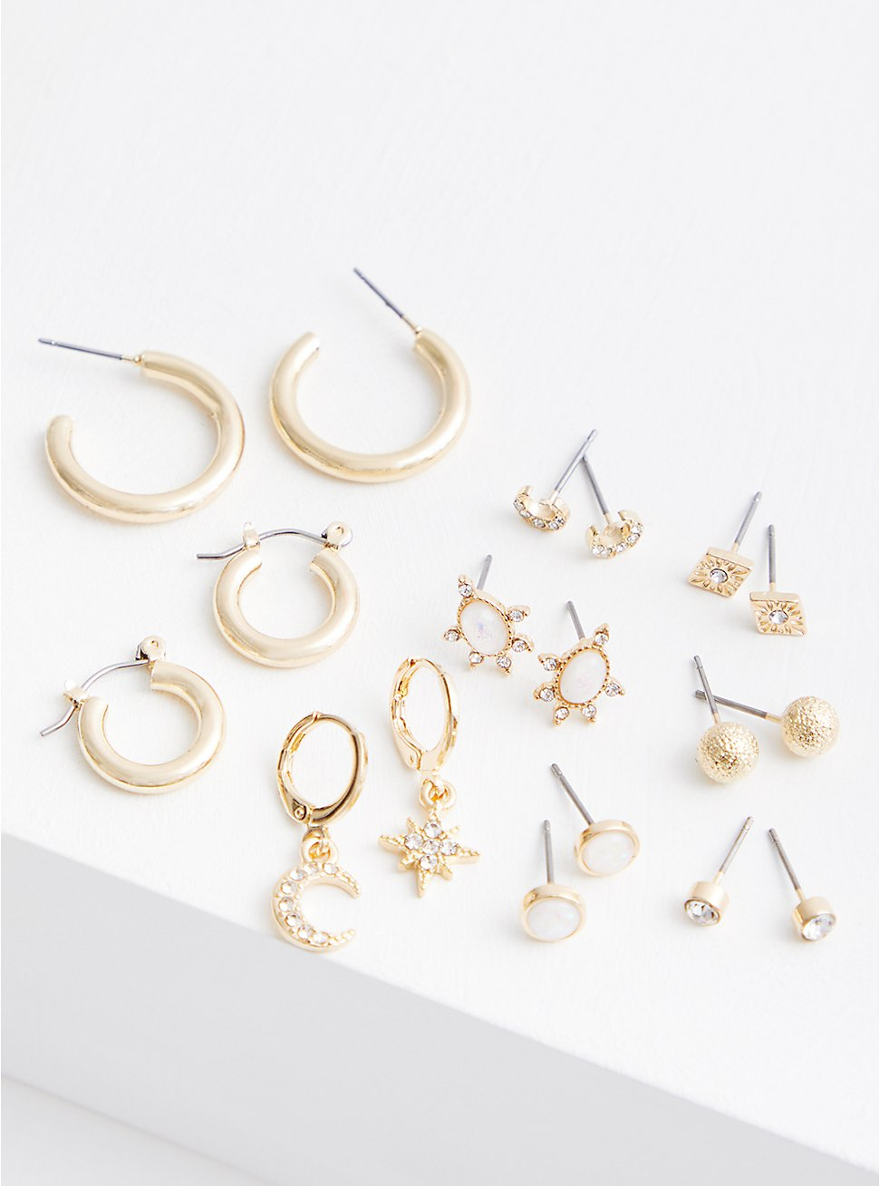 Gold-Tone Celestial Opal Earring Set - Set of 9, , hi-res