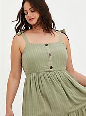 Green Stretch Woven Button Front Pinafore Mini Dress, TEA, alternate