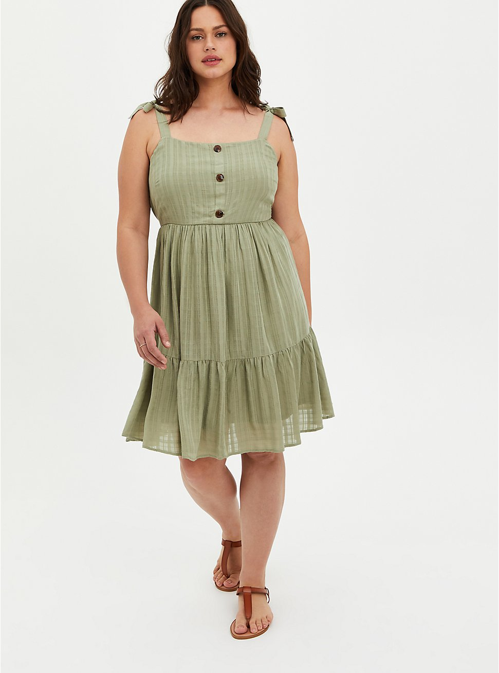 Green Stretch Woven Button Front Pinafore Mini Dress, TEA, hi-res