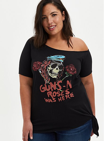 Plus Size Off The Shoulder Tee – Guns & Roses Black, DEEP BLACK, hi-res