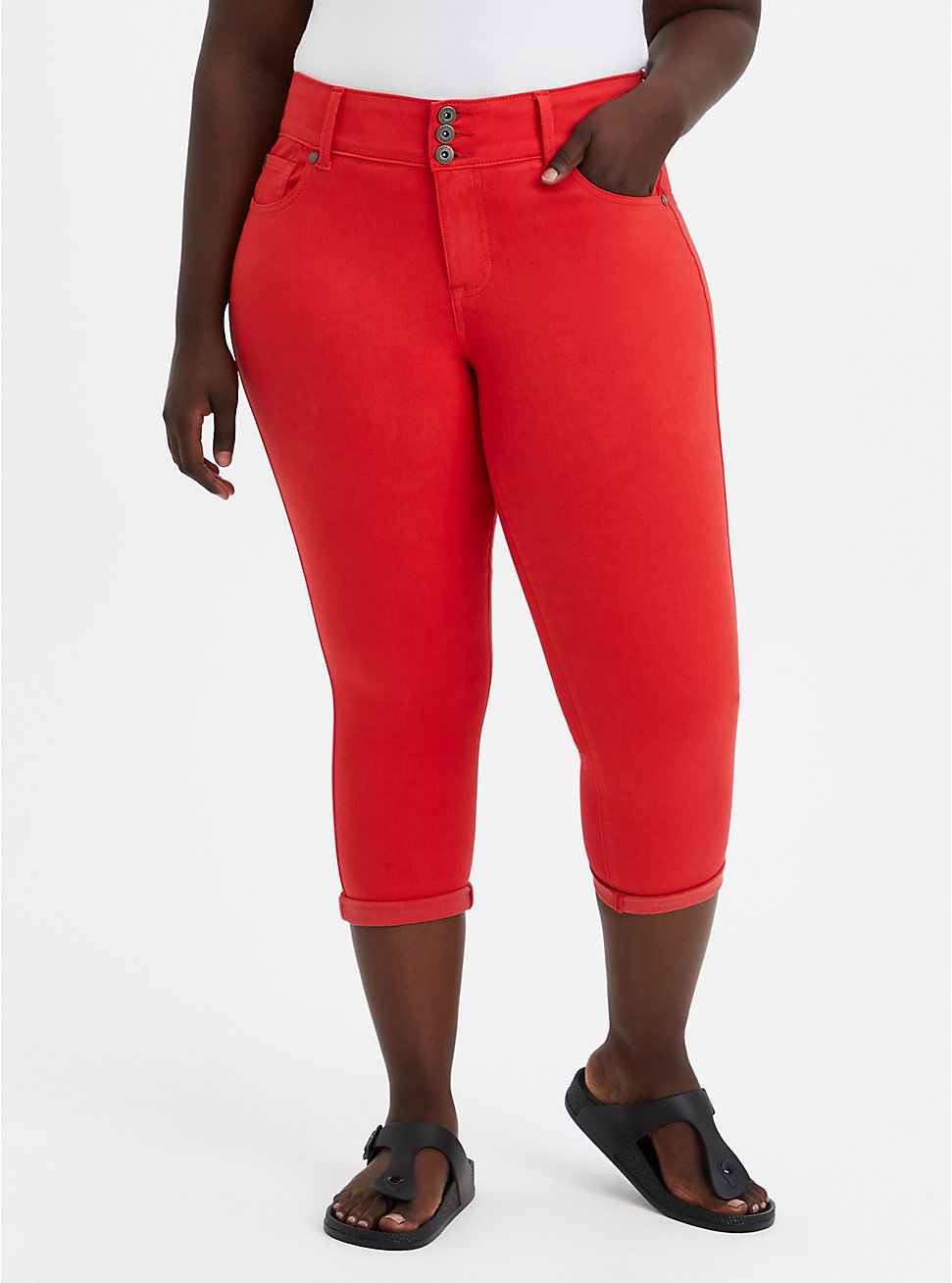 Plus Size Crop Jegging - Super Soft Red, , fitModel1-hires