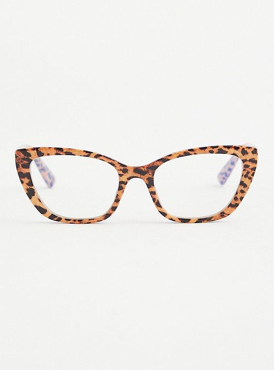 Leopard Cat Eye Bluelight Glasses , , hi-res