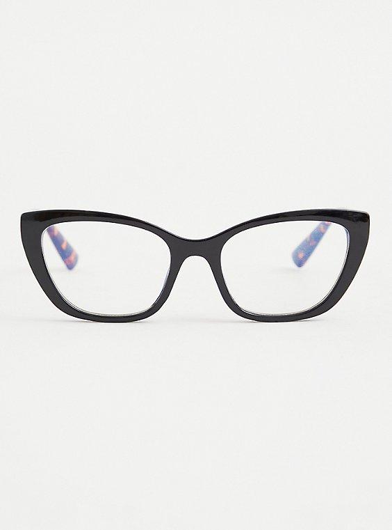 Black Tortoiseshell Cat Eye Bluelight Glasses , , hi-res