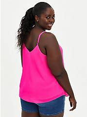 Sophie Embroidered Cami - Chiffon Neon Pink , PINK GLO, alternate