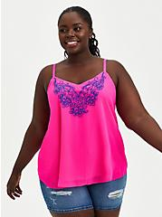 Sophie Embroidered Cami - Chiffon Neon Pink , PINK GLO, hi-res
